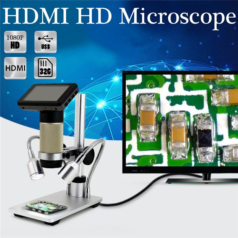 Digital Microscope Camera ADSM201 HDMI Microscope 3MP 1080 for PCB Repair Tool US110V/EU220V Double Lights UV Filter Metal Stand