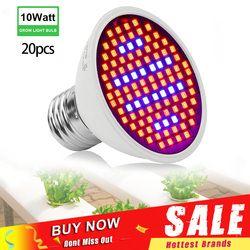 20 Buah/Banyak 106 LED Lampu Pertumbuhan 10W E27 Merah Biru Spektrum Penuh Indoor Lampu Hidroponik Tumbuh Lampu AC85-265V grosir