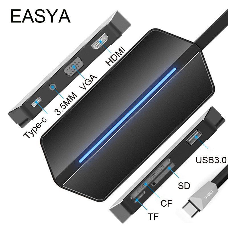 EASYA USB C Hub à HDMI VGA Adaptateur USB 3.0 Hub USB avec Type-C PD De Charge Port Lecteur de Carte Slot 3.5 MM Prise pour MacBook Pro