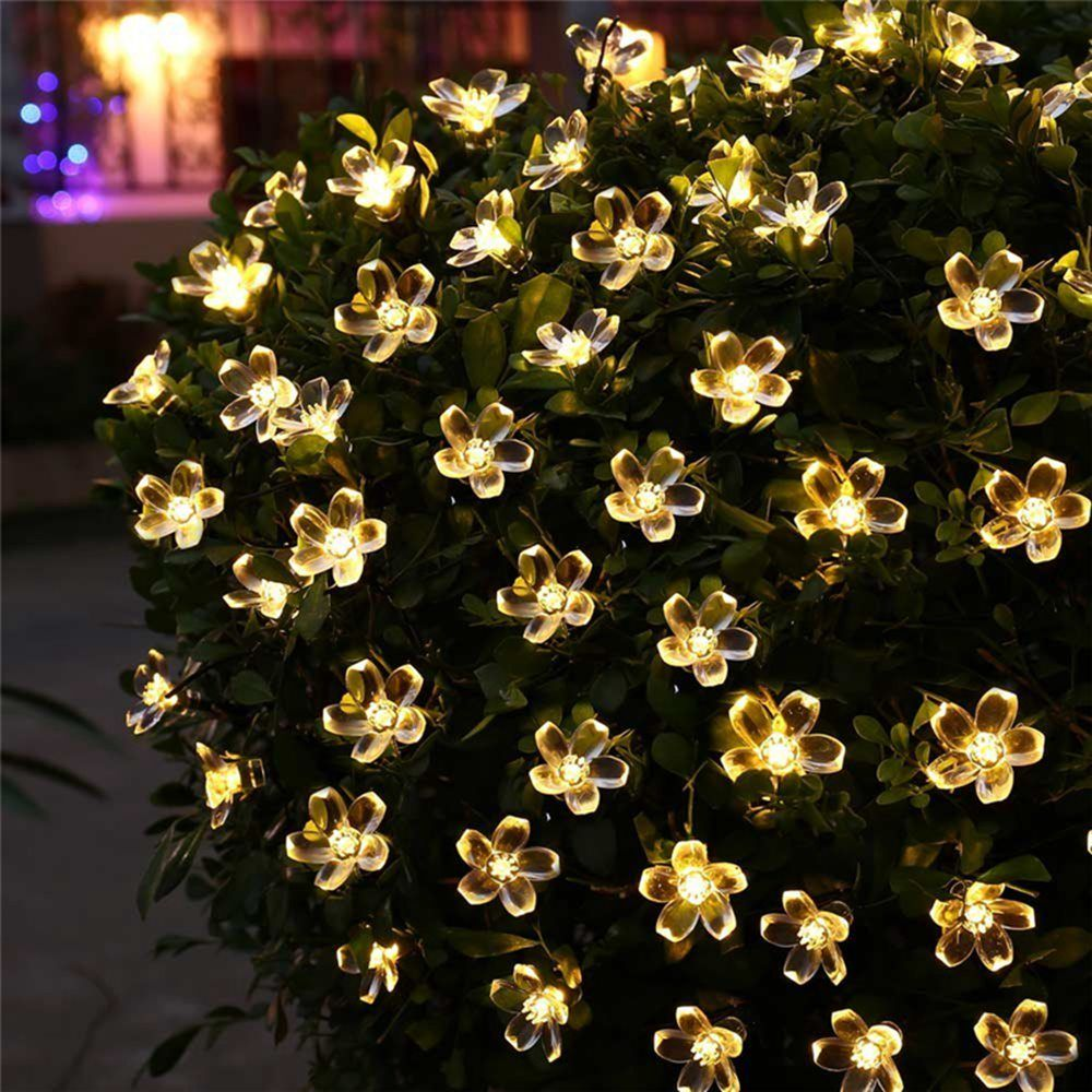 Peach Flower LED Solar Lamp Fairy String Light Outdoor Decoration Holiday Lights For Garden,Christmas Tree,Lawn,Landscape,5-52M