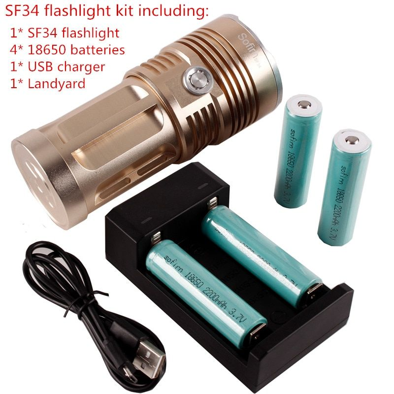 SF34 13*XML T6 Kit Powerful LED Flashlight 2000lm Cree Ultra Bright 18650 Flashlight Tactical Portable Light With Batteries