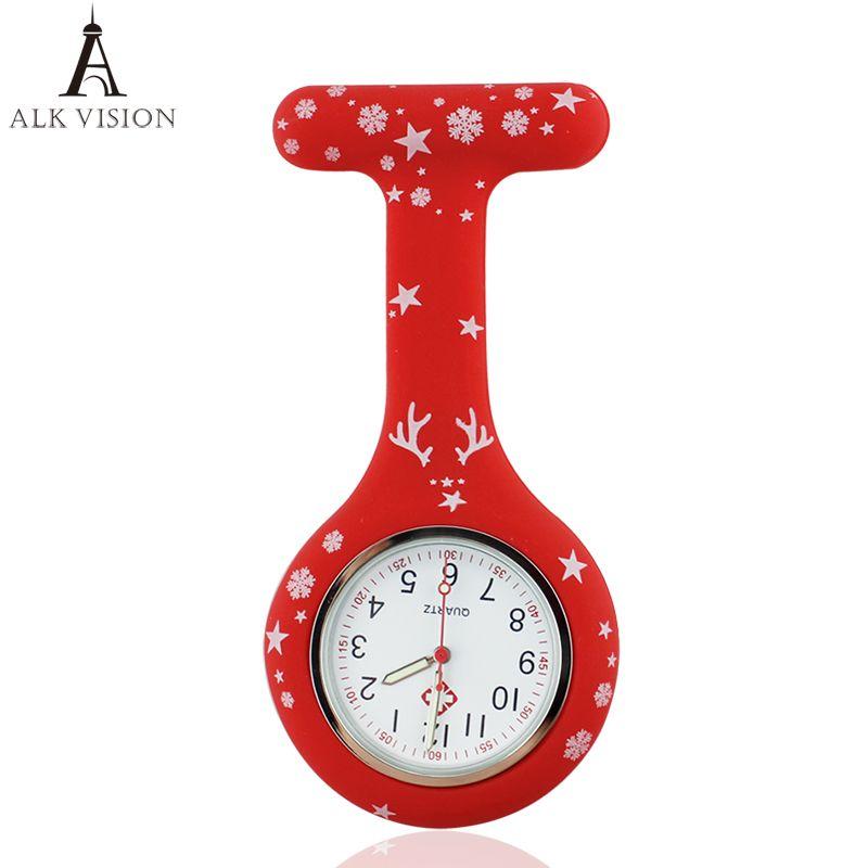 2017 Feliz Navidad enfermera reloj digital de silicona médico reloj reloj médica colgante broche de cuarzo con clip dropshipping
