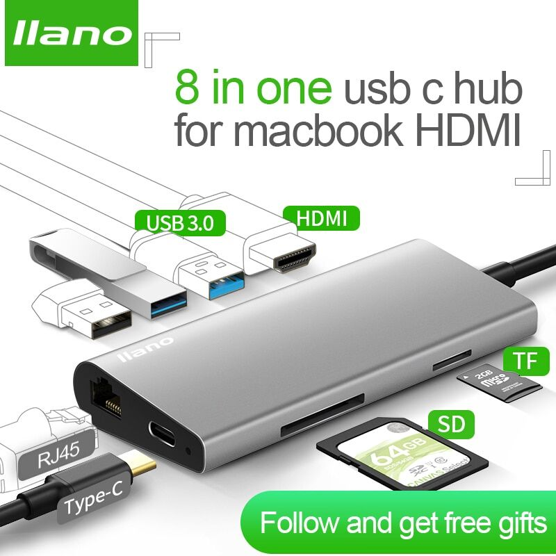 llano USB docking station All-in-One USB-C to HDMI Card Reader RJ45 PD Adapter for MacBook Samsung Galaxy S9 /S8 / S8+Type C HUB