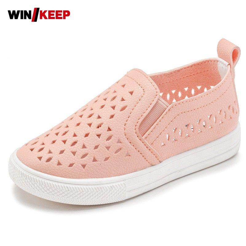 Summer Children Skateboarding Shoes Slip On For Girl Sport Shoes Hollow Breathable Kids Comfortable Cool Air Mesh Black White