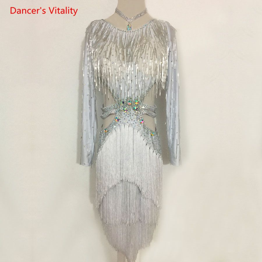 Adult Kids Latin Dance Costume Latin Dance Dress Luxury Diamond Tassel Dress For Women/Girls Latin Dance Competition Clothing