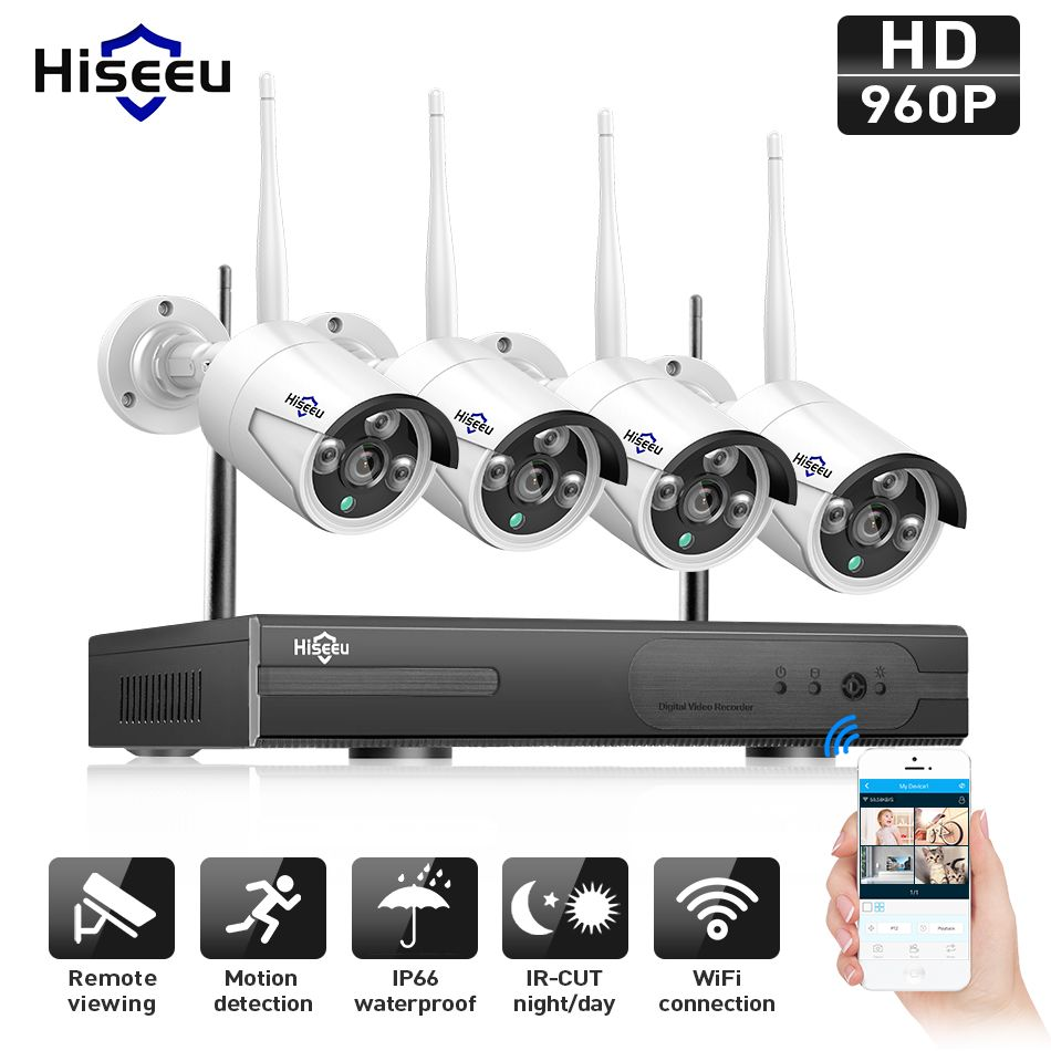 Hiseeu 960P NVR 4PCS 960P Wireless Security CCTV System Outdoor IP Camera WIFI Waterproof Video Surveillance CCTV Kit IP Pro