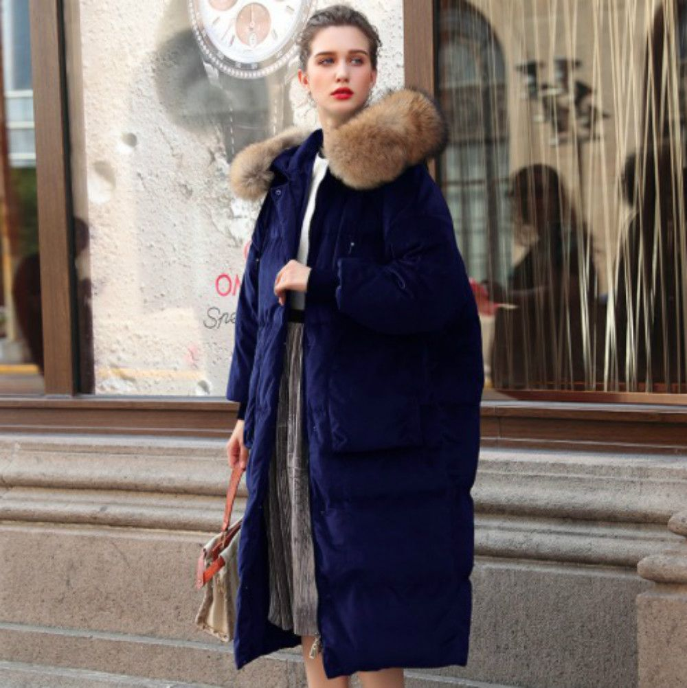 New 2018 Winter Women's Duck Down Jackets Velvet Parka Long Loose Raccoon Fur Hooded Female Outerwear Casual Coats High Quality