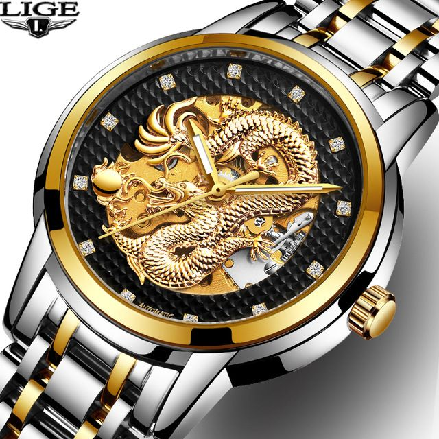 Dragon Skeleton Automatic LIGE Mechanical Watches For Men Wrist Watch Stainless Steel Strap Gold Clock 30m Waterproof Mens watch