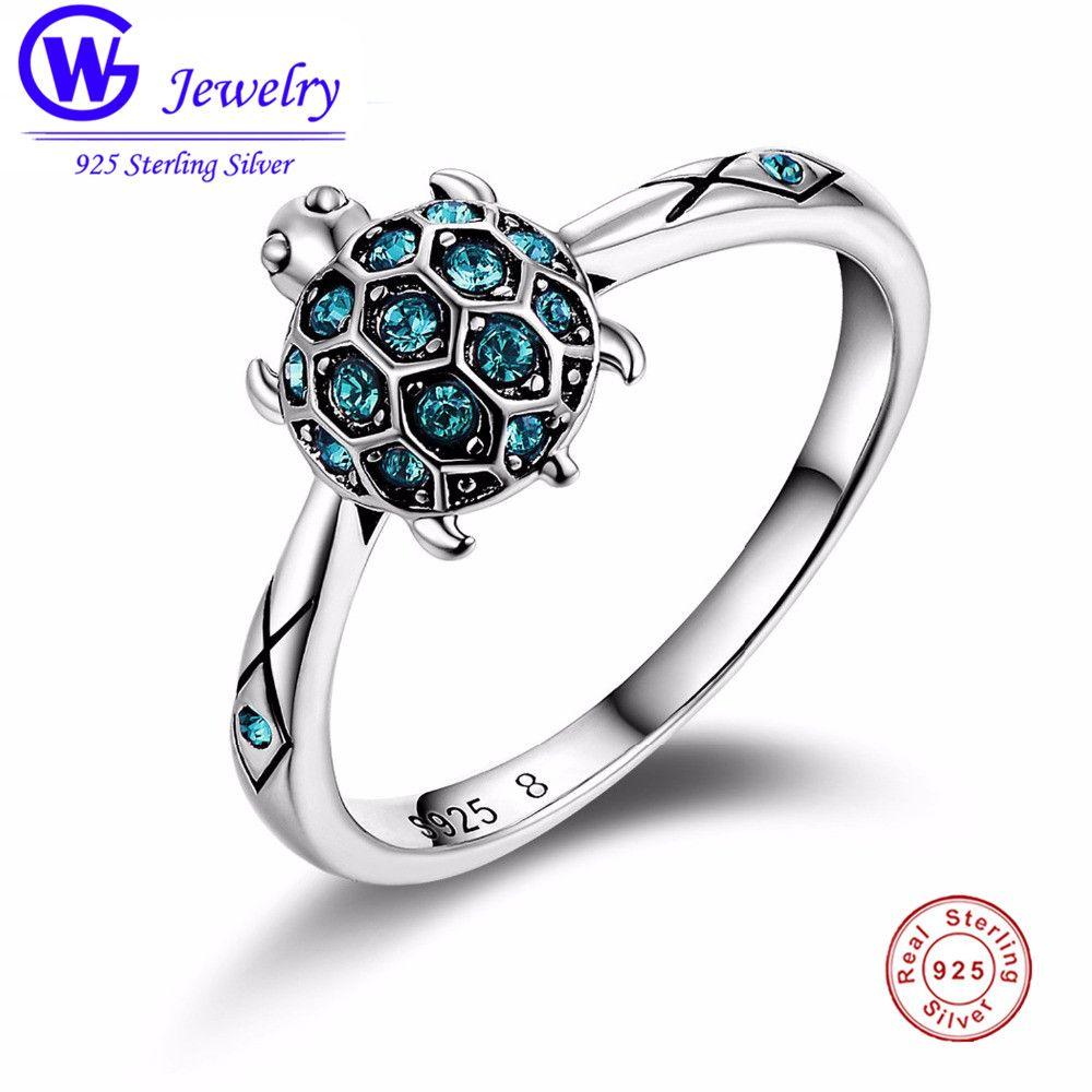 Livraison directe chaude belle tortue anneau cristal clair 925 argent femmes anneau de mariage anniversaire anneau meilleur cadeau de noël