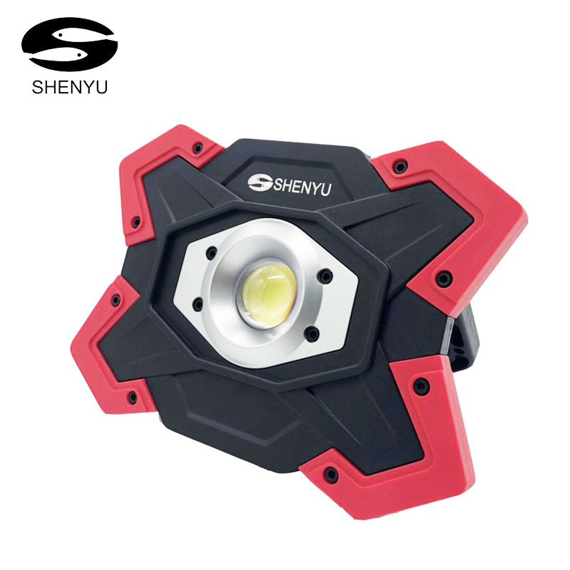 SHENYU LED Camping Lantern Tent Flashlight 10w 12v USB Rechargeable Power Bank Searchlight 18650 Battery Spotlight Portable Lamp