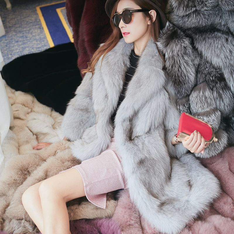 High quality fluffy whole skin fox fur coats outerwear women turn down collar thick warm real fur jackets MOVAU0074