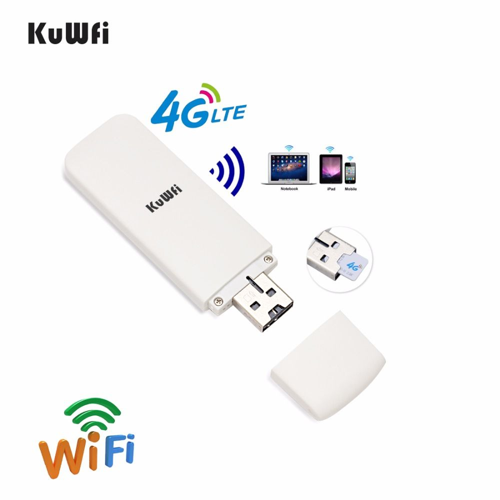 KuWFi Unlocked Pocket 4G LTE USB Modem Router Mobile USB WiFi Router Network Hotspot 3G 4G WiFi Modem Router with SIM Card Slot