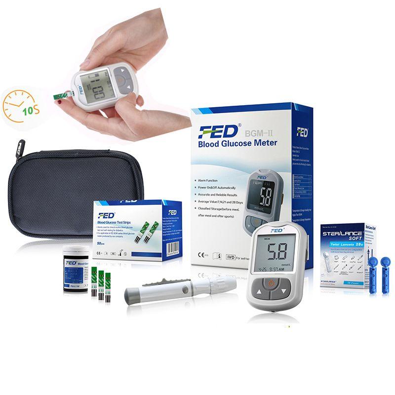 Facile Utiliser Médicale Diabétique Ménage Moniteur 50 pcs Bandes + 50 Aiguilles Lancettes Sang Sucre Détection Sang Glucose Mètres Glucomete