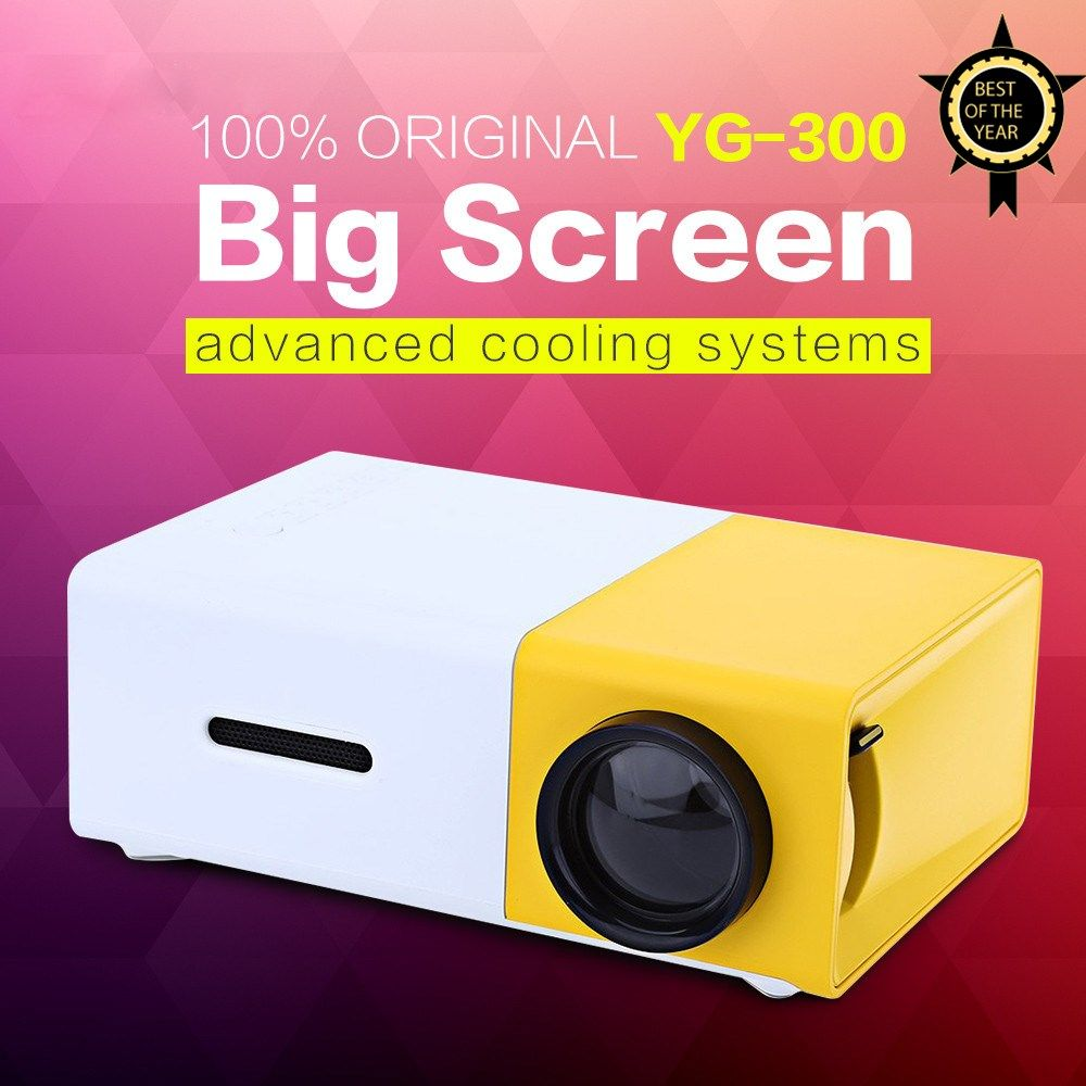 AAO YG300 YG310 LED Portable Projector 400-600LM 3.5mm Audio 320 x 240 Pixels YG-300 HDMI USB Mini Projector Home Media Player