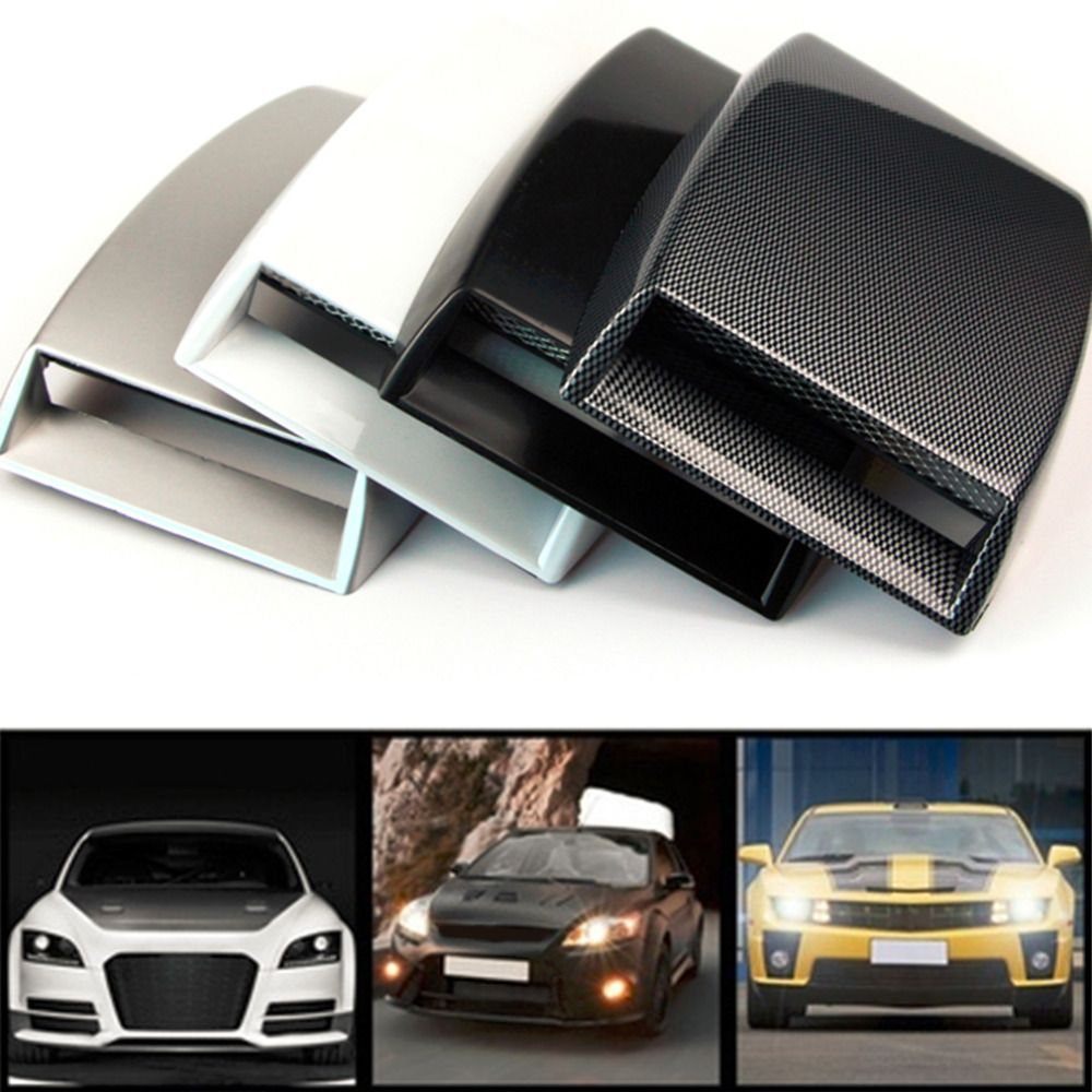 3 color car styling universal air flow decorativo cucharada Turbo Bonnet Vent cubierta plata/Blanco/negro car styling