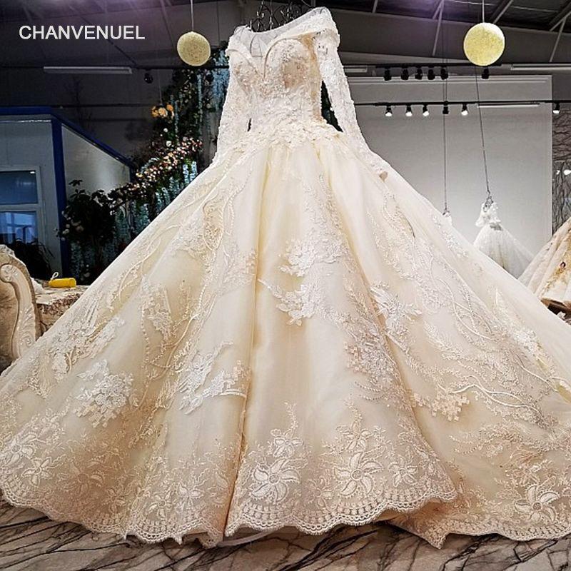 LS09841 real pictures original design bridal dress long sleeves big skirt plus size corset back long train wedding dress 2018