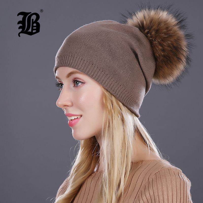 [Flb] Осень Зима шапочки вязаный шерстяной шляпа унисекс skullies Повседневная Cap реального енота Fox меховой помпон однотонные лыжный осень Cap