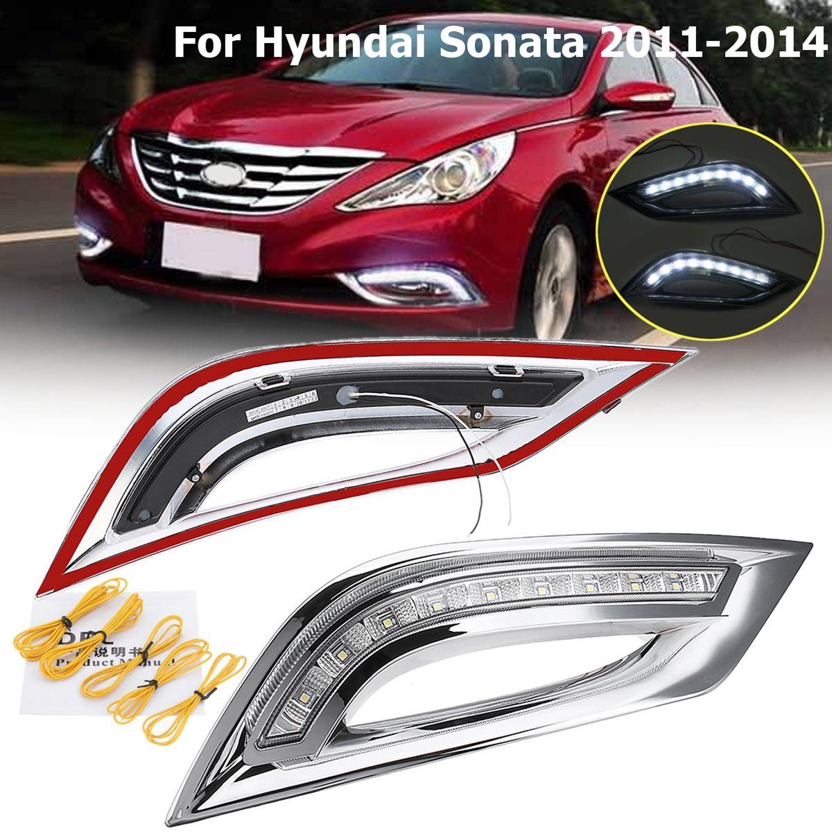 1 para DRL LED Weiß Tagfahrlicht Drehen Signal Licht Auto Styling Für Hyundai Sonata 2011 2012 2013 2014
