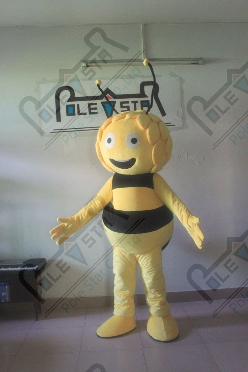 character maya bee mascot costume hot sale smile bee costumes 3D hair