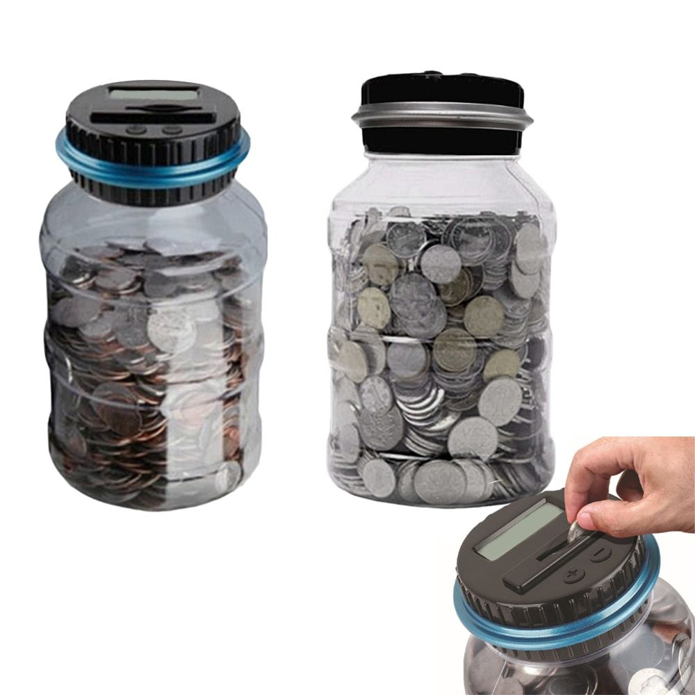 Creative Piggy Bank Counter Coin Electronic Digital LCD Counting Coin Money Saving Box Jar Coins Storage Box For USD EURO Money