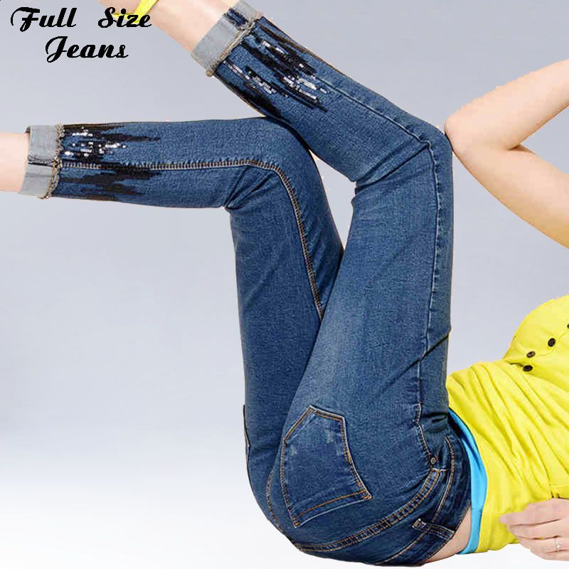 Плюс размер высокая талия блесток голеностопного Длина узкие Джинсы XS 4Xl 6Xl кружева укороченная Джинсовая Жан роковой карандаш брюки женски...