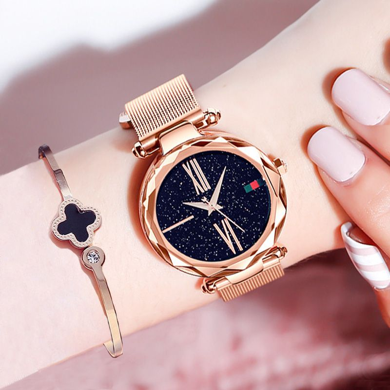 Luxe or Rose femmes montres minimalisme ciel étoilé aimant boucle décontracté femme montre-bracelet étanche chiffre romain