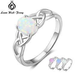 Элегантное оплетенное кольцо из стерлингового серебра 925 пробы с овальным белым розовым синий Опаловый камень Свадебные обручальные кольц...