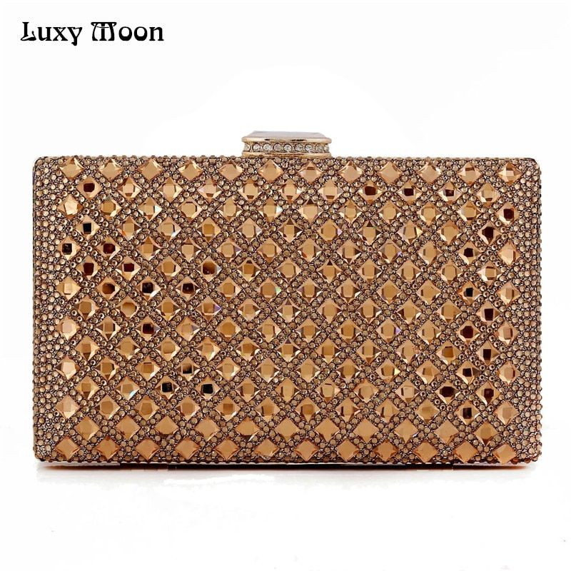 Luxy Moon gold Clutch Women Evening bags Ladies Crystal Day Clutches Wallet Wedding Purse Party Banquet bag Black/Gold/Silver
