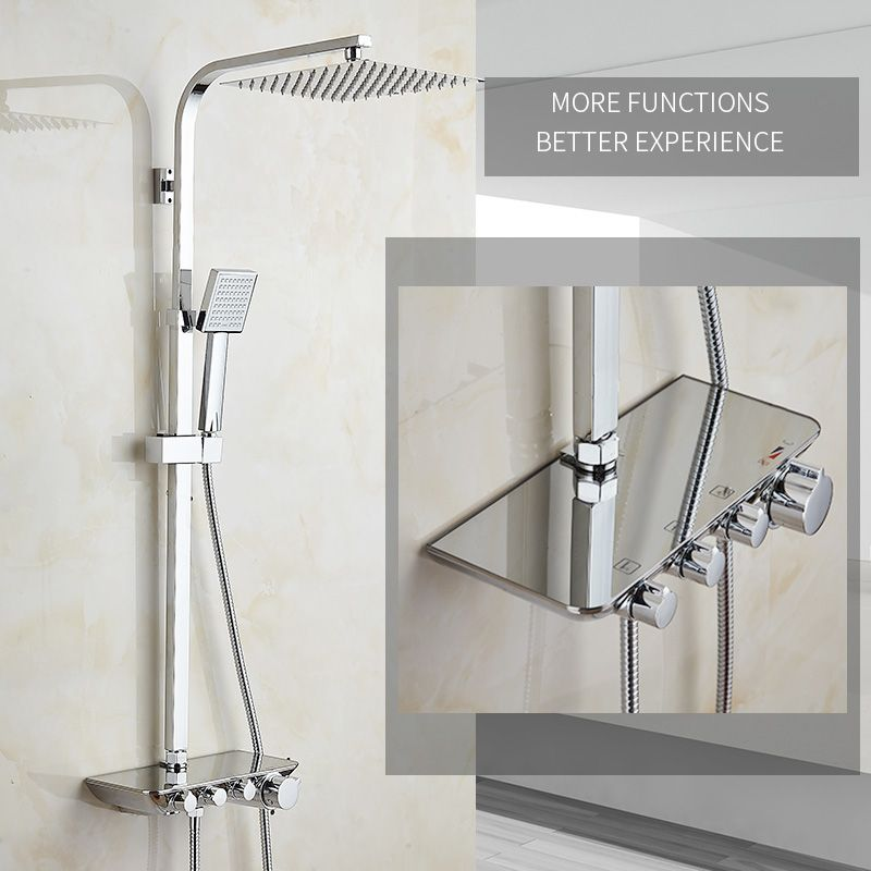 Modern Simple Bathroom Rainfall Thermostatic Shower Faucet Set Chrome Mixer Taps With Hand Shower Square Head Shower Set 88321