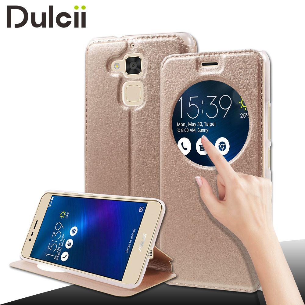 DULCII Téléphone Cas pour Asus Zenfone 3 Max ZC520TL Capa Creux vue Fenêtre En Cuir Couverture de Stand pour Asus Zenfone 3 Max Coque