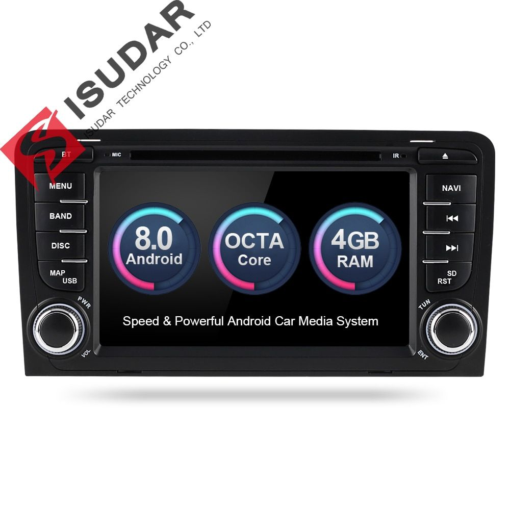Isudar Car Multimedia player Android 8.0 GPS 2 Din Autoradio Stereo System For Audi/A3/S3 Octa Core 4GB RAM wifi Car DVD Player