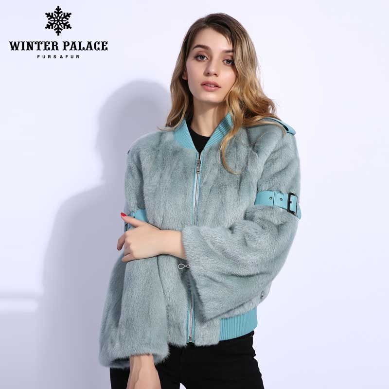 Fashion real mink fur coat woman Solid fur coats women short Slim shovel fur coat baseball uniform jacket Casual Mink fur coat
