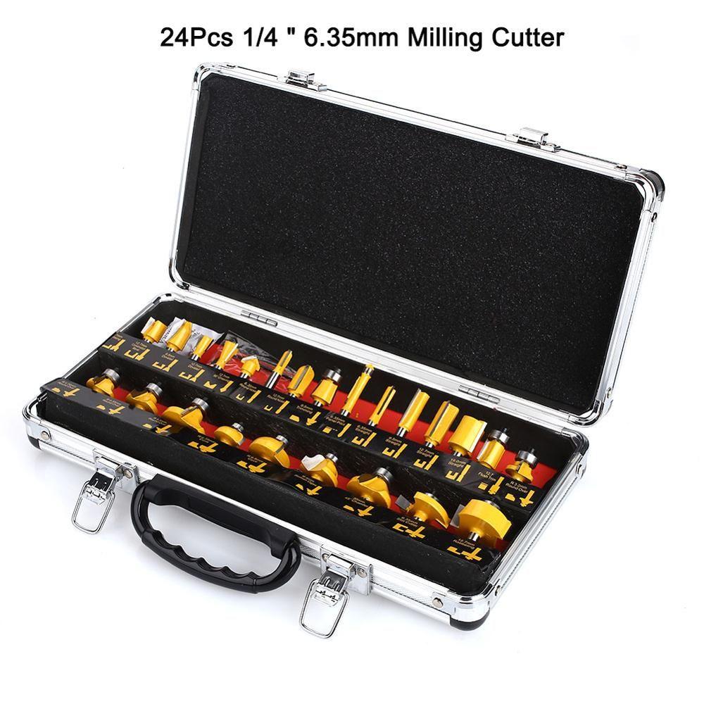 24PCS Fräser Router Bit Set Holz Fräser Hartmetall Schaft Mühle Holzbearbeitung Trimmen Gravur Carving Schneiden Werkzeuge