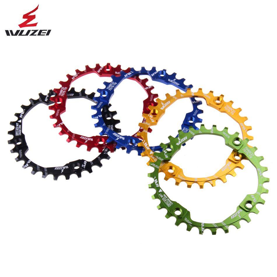 WUZEI manivelle de vélo 104BCD forme ronde étroite large 30 T vtt plateau 7075-T6 vélo roue vélo cercle pédalier plaque unique