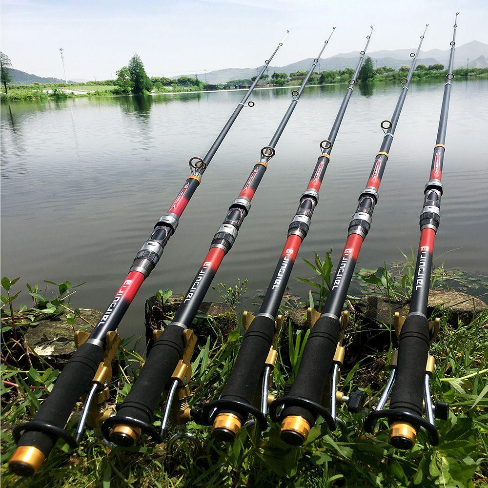 Canne à pêche télescopique Super dure 99% Fiber de carbone 2.1-3.6 M pôle de filature de carbone bâton de pêche en mer anneau en métal