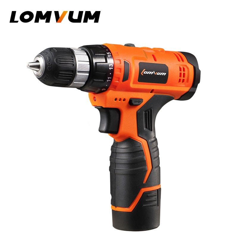 LOMVUM 12V Power Drill Tool Electric Drill screwdriver 24v cordless drills 2 Lithium-Ion Battery screw rotary tool drilling