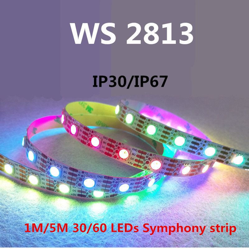 LED WS2813 light bar 1/3/5 Meter RGB full color running water built-in upgrade version of the breakpoint resume 4pin SMD 5050
