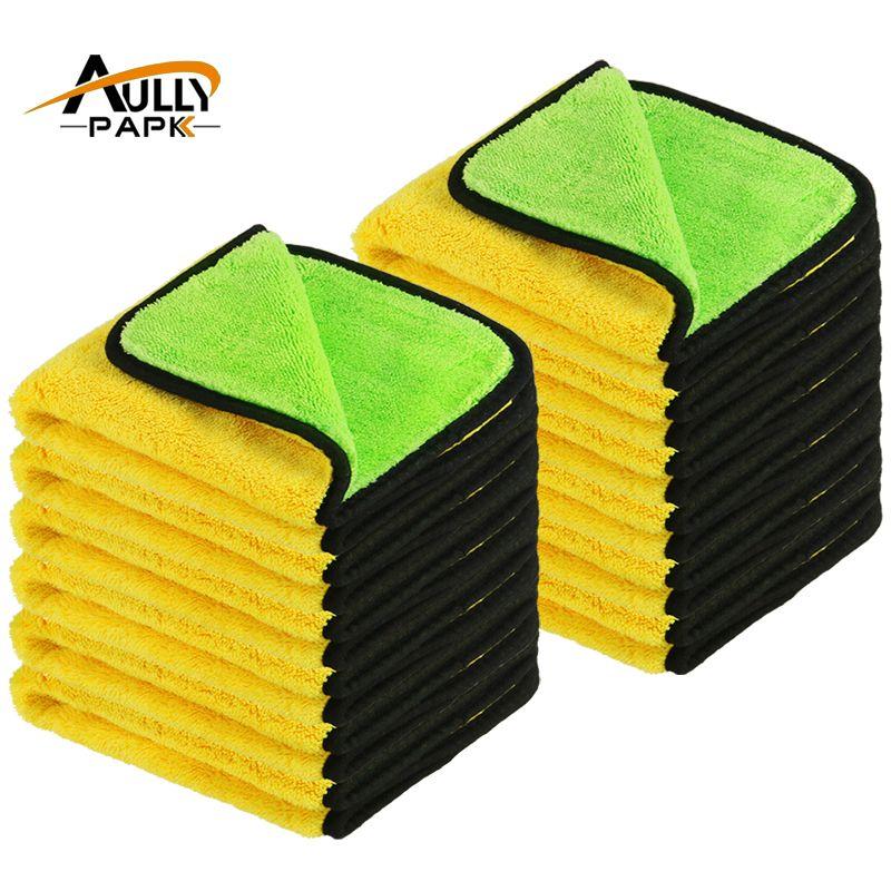 12 Stücke 40 cm x 40 cm Super Dicken Plüsch Mikrofaser Auto Reinigungstücher Autopflege Mikrofaser Wachs Polieren Detaillierung handtücher Grün/Gelb
