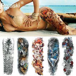 Lobo Sexy completa Flor brazo tatuaje temporal pegatinas para hombres Body Art manga tatuaje pegatinas niñas mujeres impermeable tatuaje zorro piernas