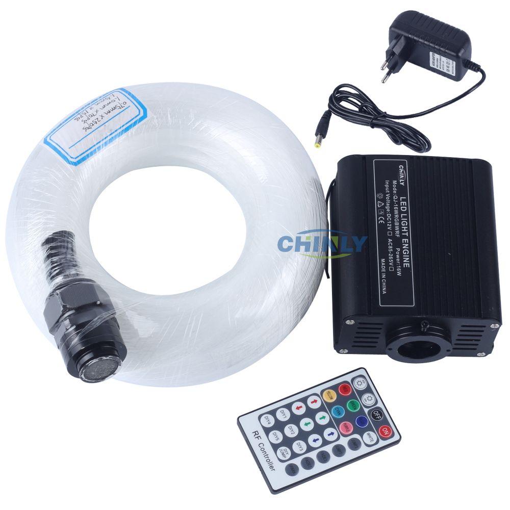 16 W RGBW Fiber optique étoile lumière plafond Kit LED lumières moteur 28 clé RF télécommande mixte différentes Fibers câble