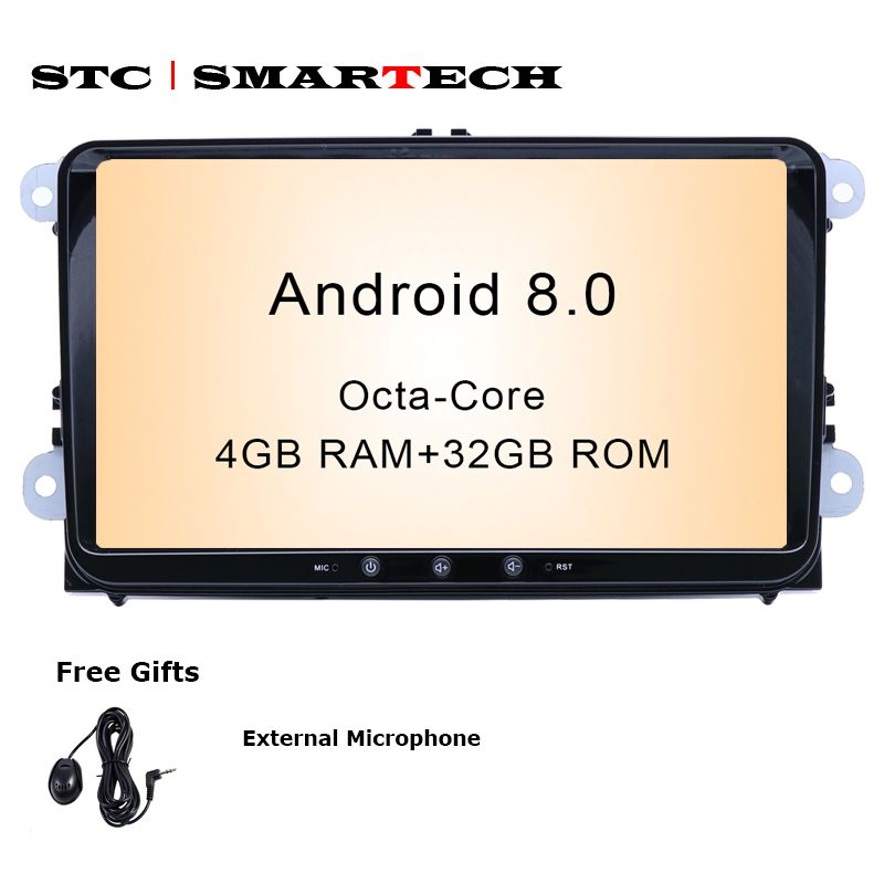 SMARTECH 2Din Android 8.0 OS 9 inch Octa-Core 4GB RAM 32GB ROM Car GPS Radio for VW Volkswagen passat b6 golf 5 polo jetta Skoda