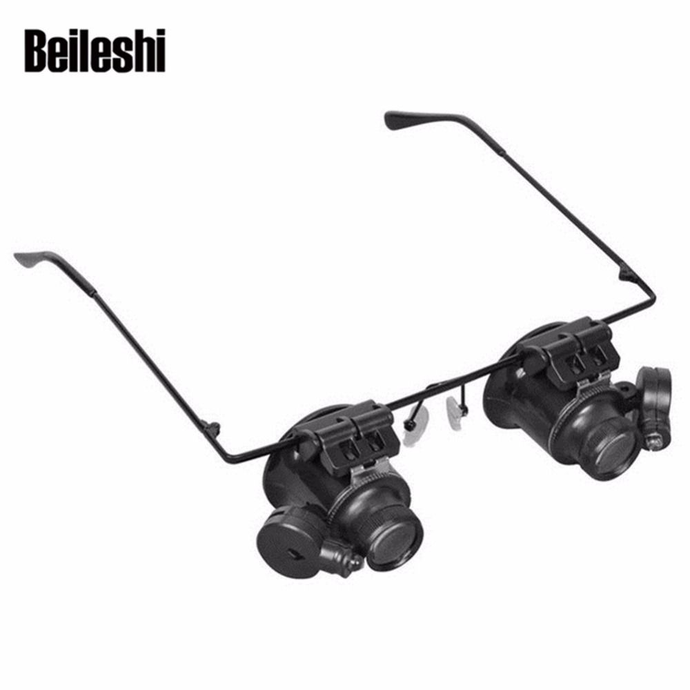 Beileshi Magnifier Eyeglasses 20X Loupe LED Light Watch Repair Jewelry Tools Stamp Watchmaker Magnifying Glasses