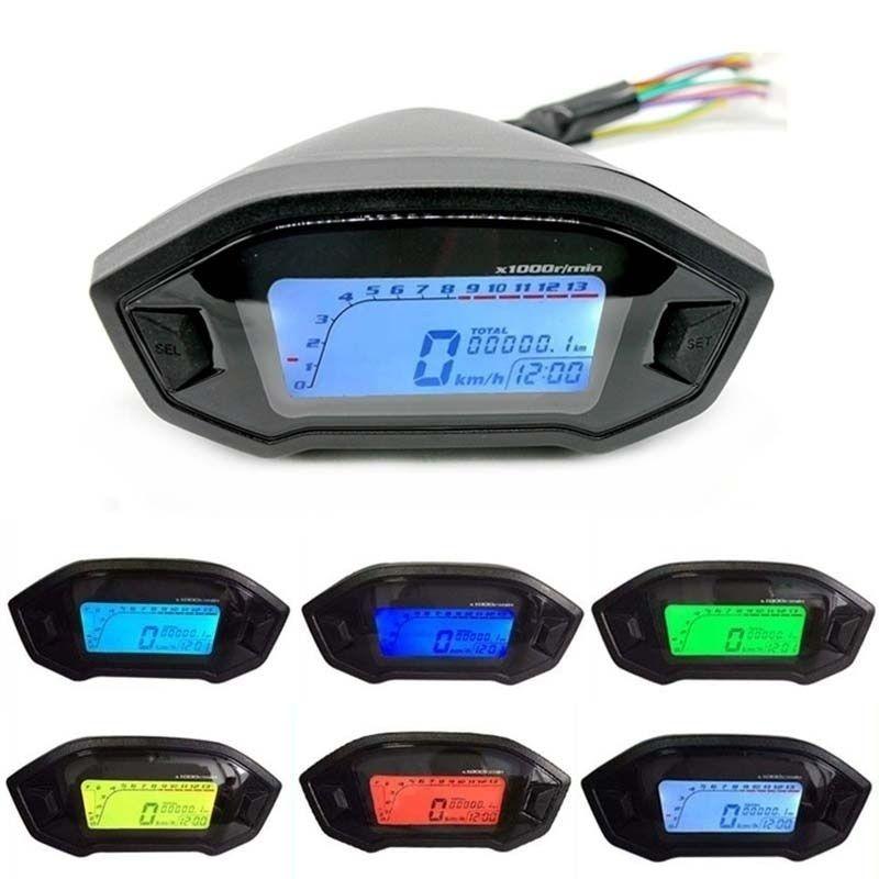 Universal Motorcycle LCD Digital 13000rpm Speedometer Odometer Backlight Motorcycle Odometer for 2,4 Cylinders meter