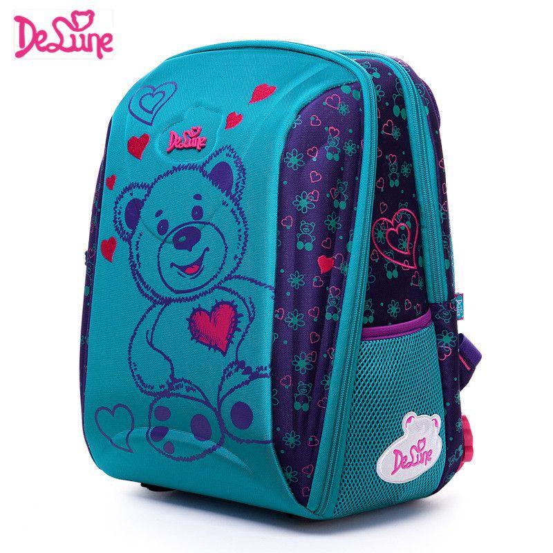 Delune Brand Kids Fashion 3D Cartoon School bags 1-3 Grade Studets Children Orthopedic School Backpacks for Girls Boys Schoolbag