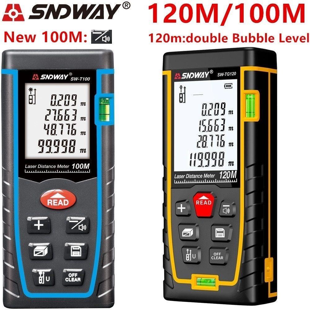 SNDWAY laser distance mètre 40 M 60 M 80 M 100 M laser télémètre télémètre laser ruban à mesurer construire dispositif roulette trena règle