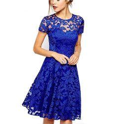 2018 Fashion Women Elegant Sweet Hallow Out Lace Dress Sexy Party Princess Slim Summer Dresses Vestidos Red Blue S-5XL Plus Size