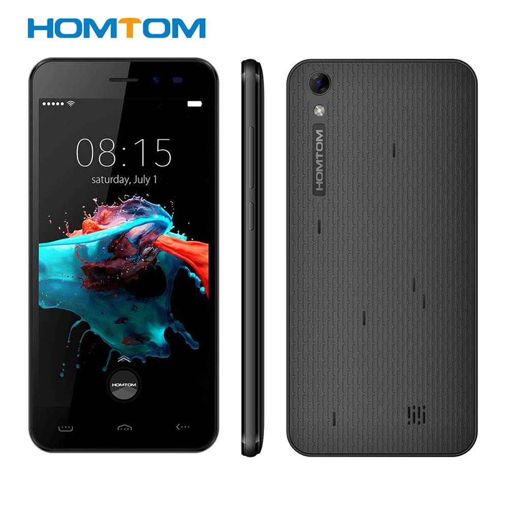 Homtom HT16 Android 6.0 5.0'' 3G Smartphone MTK6580 Quad Core <font><b>1.3GHz</b></font> Cellphone 1GB+8GB Wakeup GPS BT 4.0 Dual Cams Mobile Phone
