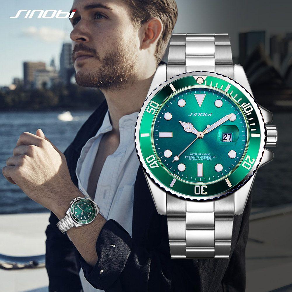 SINOBI montre hommes montres dorées pointeur lumineux bracelet en acier inoxydable luxe homme affaires décontracté genève montre-bracelet à Quartz