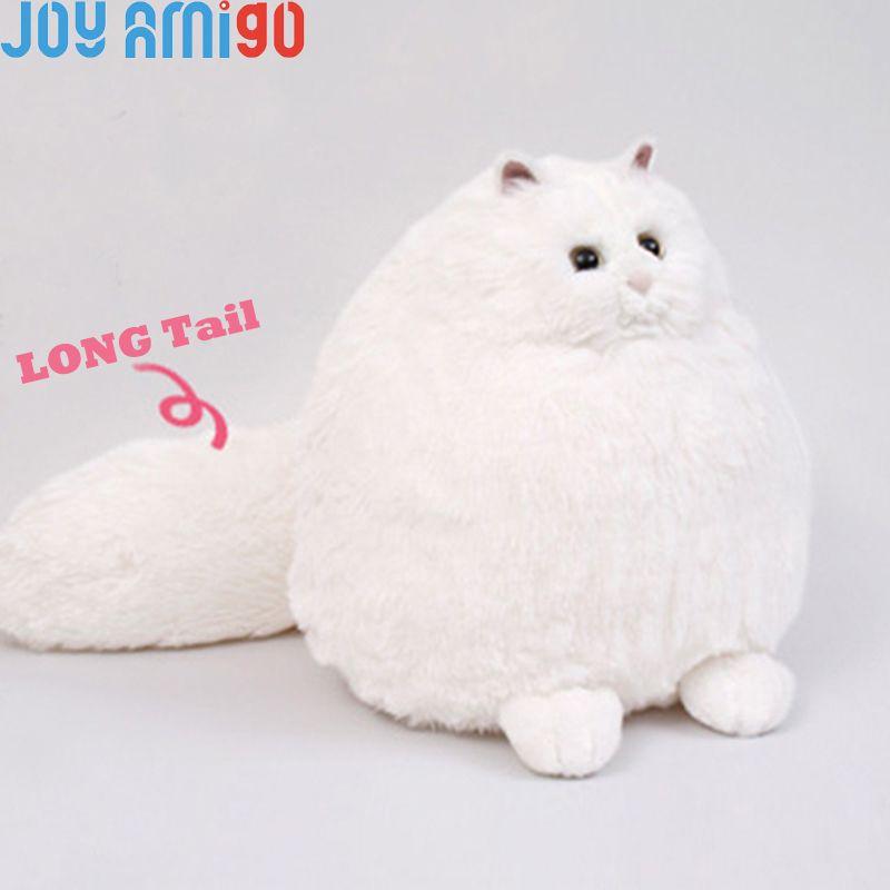 Moelleux Doux Blanc Chat Persan Avec Big Puffy Queue En Peluche En Peluche Kitty Animal Jouet Cadeau Pour Les Enfants 35 cm Hauteur D'assise En Forme de Boule