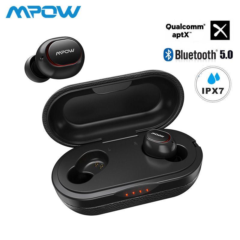 Mpow ipx7 étanche T5/M5 mis à niveau TWS écouteurs sans fil écouteurs Bluetooth 5.0 soutien Aptx 36h temps de jeu pour iPhone Samsung
